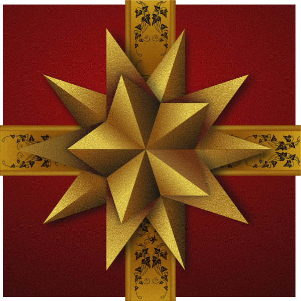 Christmas gift box with decorative golden  star vector clip art