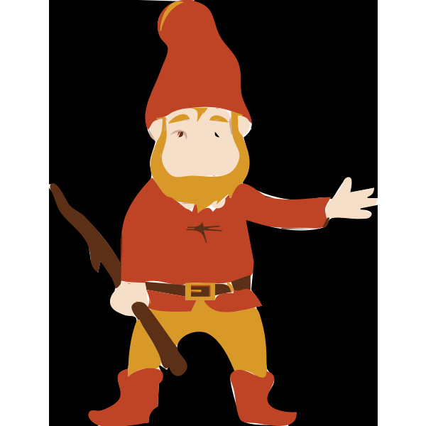 Vector drawing of troll with stick