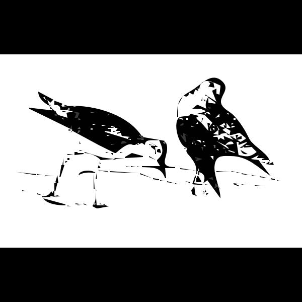 Line art vector image of birds