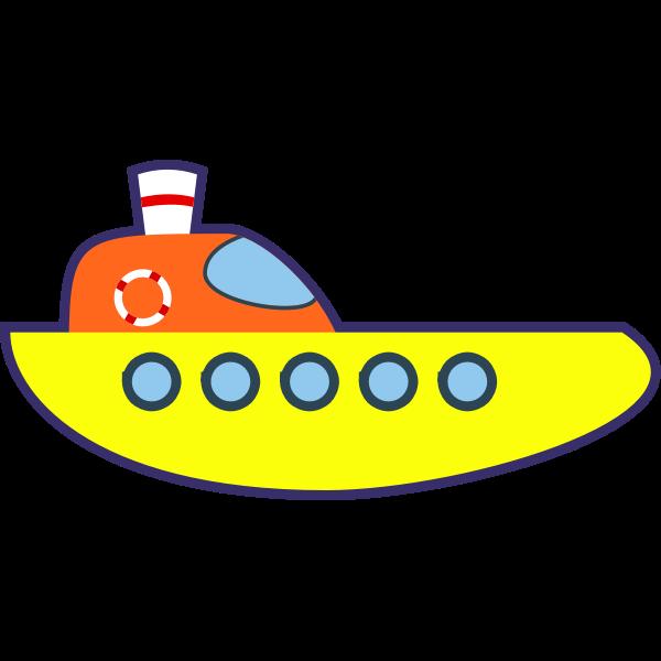 Vector drawing of yellow cartoon boat