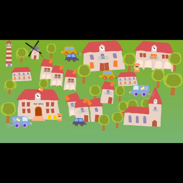Village cartoon art