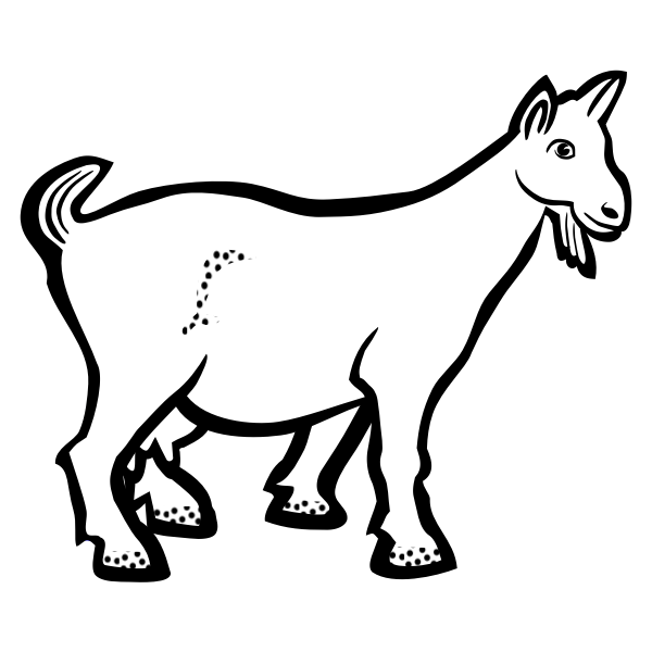 Goat with freckles black and white illustration