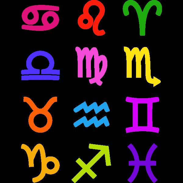 Bold zodiac symbols vector image