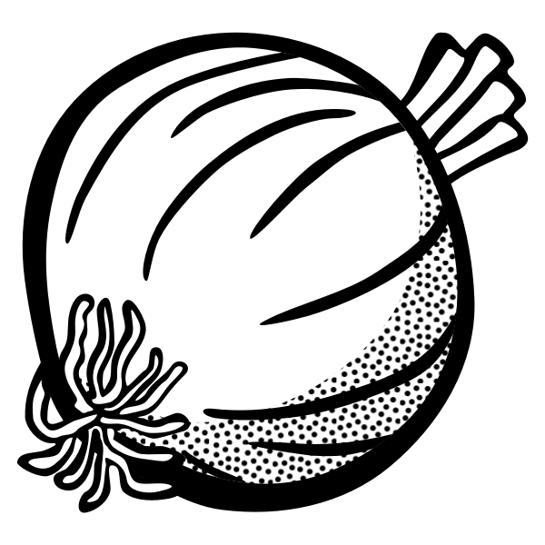 Image of onion in black and white