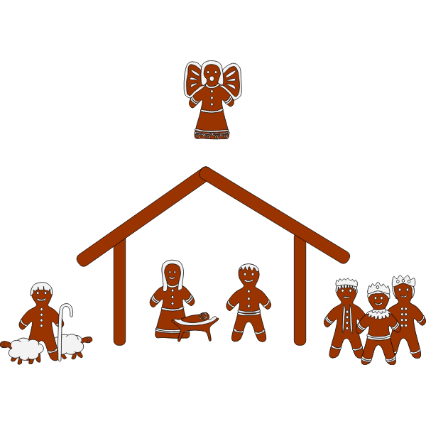 Gingerbread nativity vector