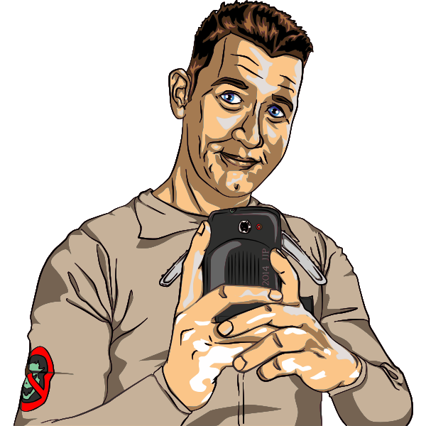 Vector clip art of boy taking a photograph with a mobile phone