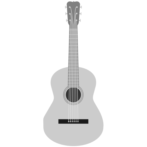 Grayscale acoustic guitar vector image