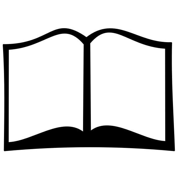 Black and white open book vector clip art