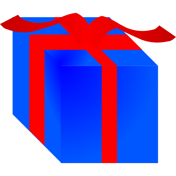 Blue gift box wrapped with red ribbon vector clip art