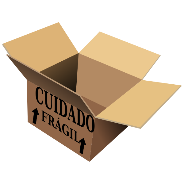 Vector image of open cardboard box with cuidado fragil sign on it