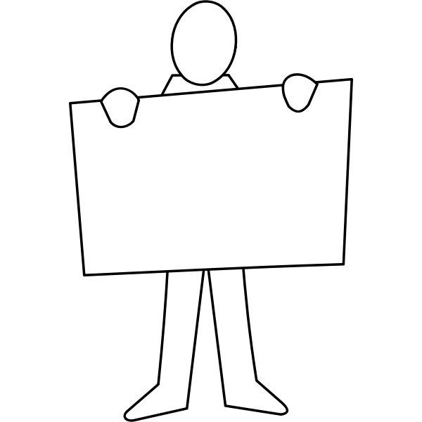 Man holding a poster vector drawing