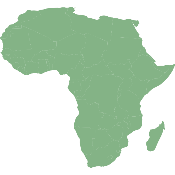 Map of Africa with countries in cylindrical equal area projection vector clip art