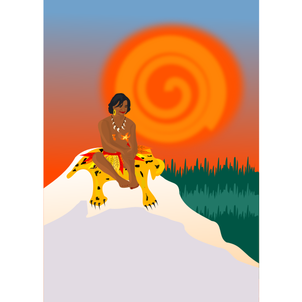 Vector clip art of lady sitting on tiger skin