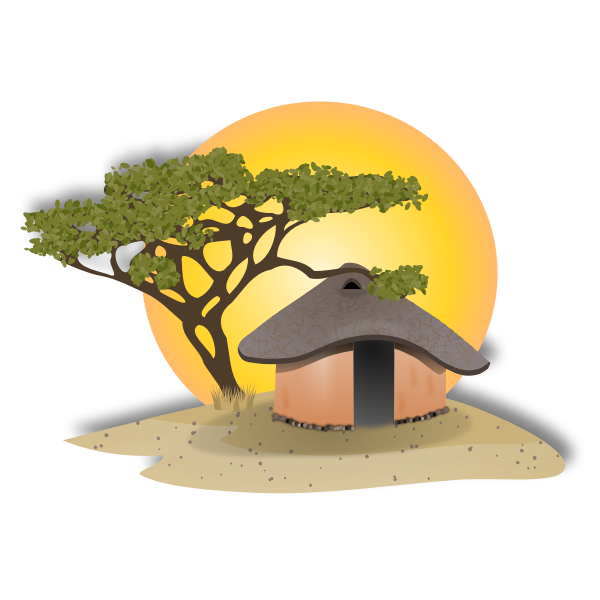 Vector drawing of landscape with African hut