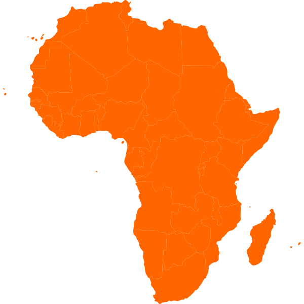 Continental map of Africa vector clip art