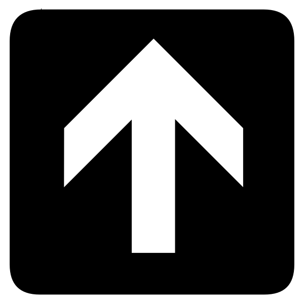 AIGA up or forward inverted arrow sign