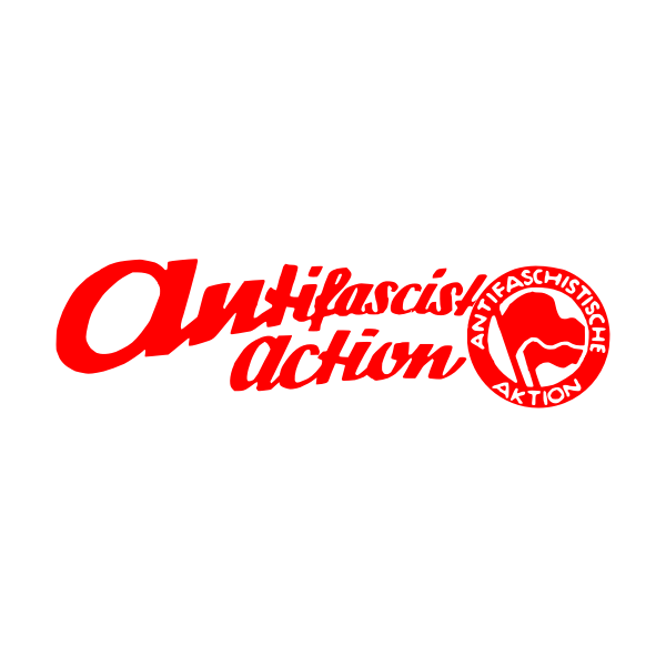 Drawing of red sign with lettering: antifascist action