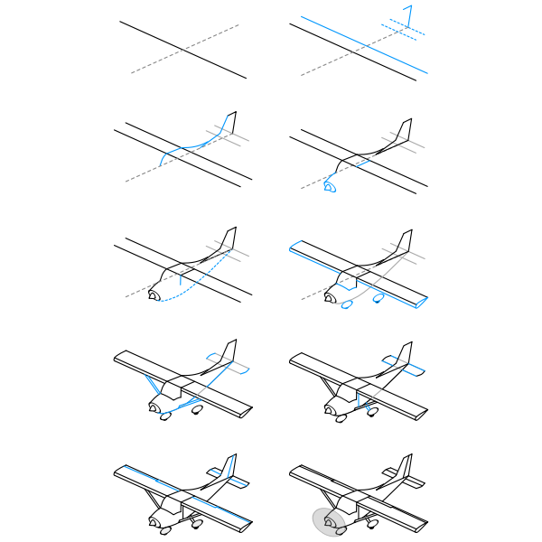 Single Engine Plane Drawing Free Svg