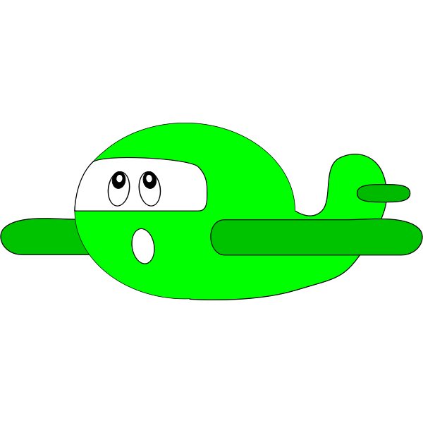 Green cartoon airplane