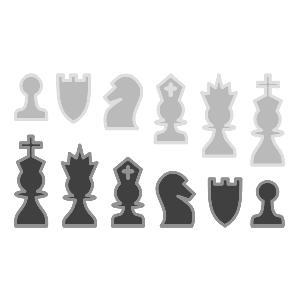 Vector clip art of set of black and white chess pieces