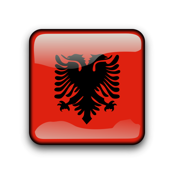 Albania vector flag button
