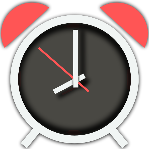Vector drawing of old style alarm clock with pink detail