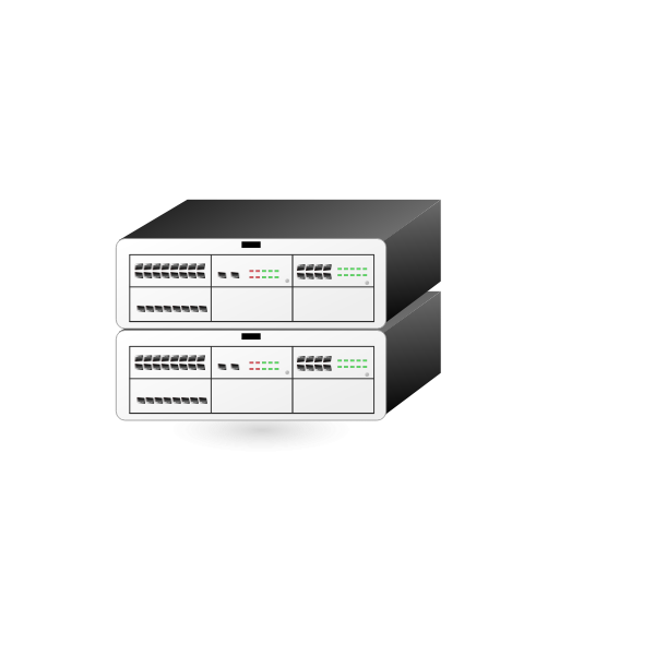 Alcatel stacked servers vector drawing