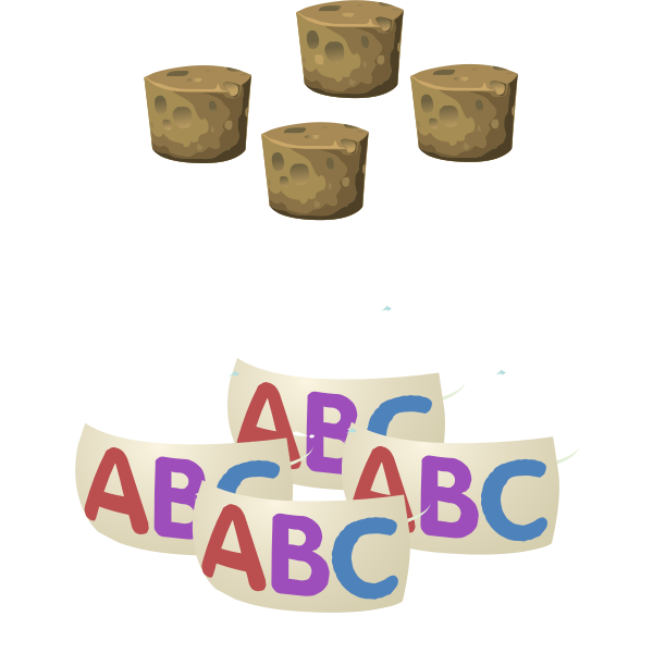Bottle with alphabet