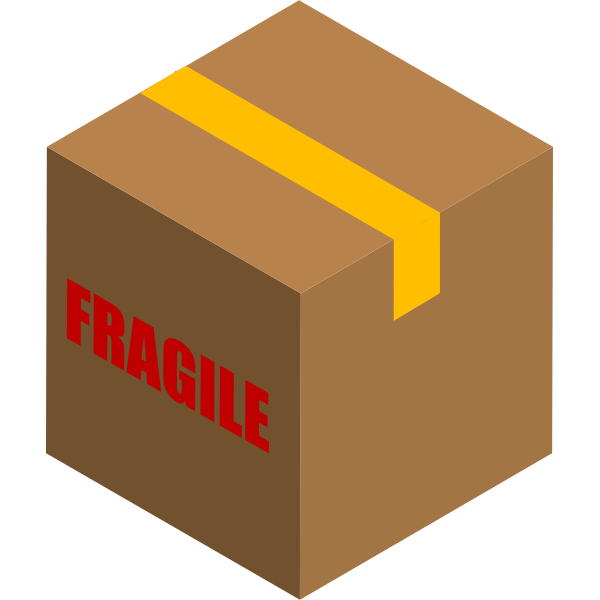 Vector image of box with fragile items