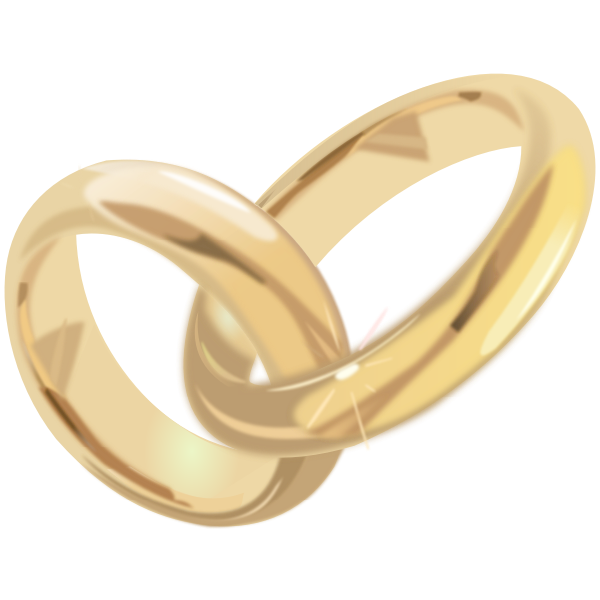 Golden engagement rings vector illustration