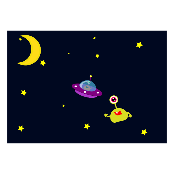 Alien and UFO in space cartoon vector image