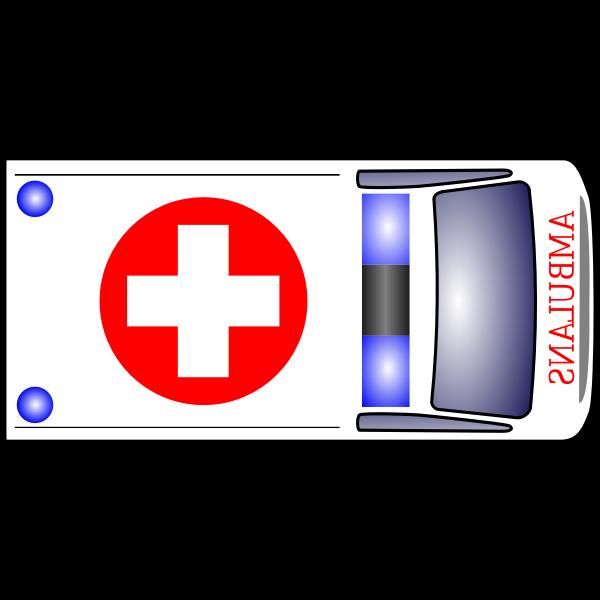 Medical van top view vector illustration