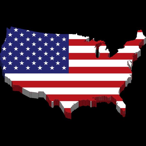 america flag map 3d drop shadow