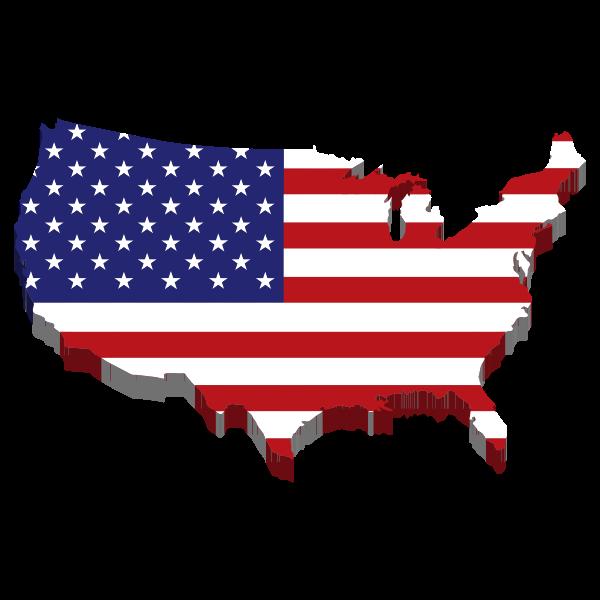 america flag map 3d