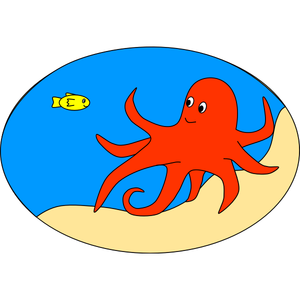 an orange octopus with fish