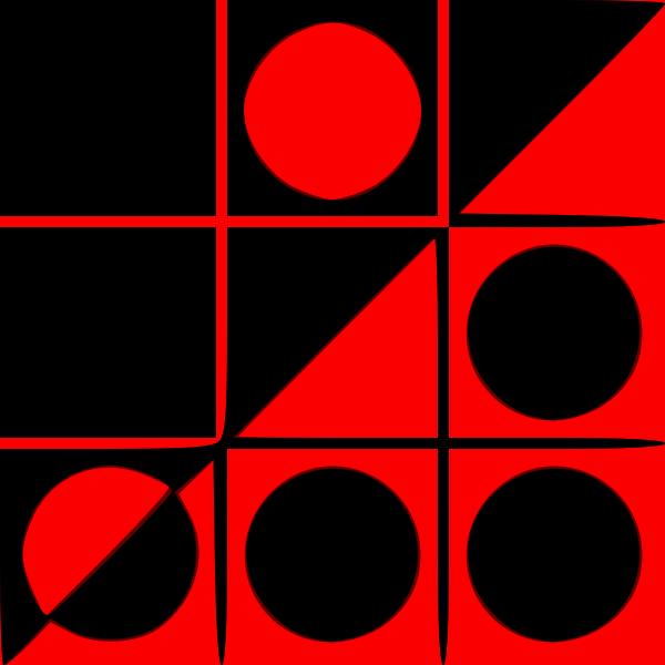 red and black circles on invert background