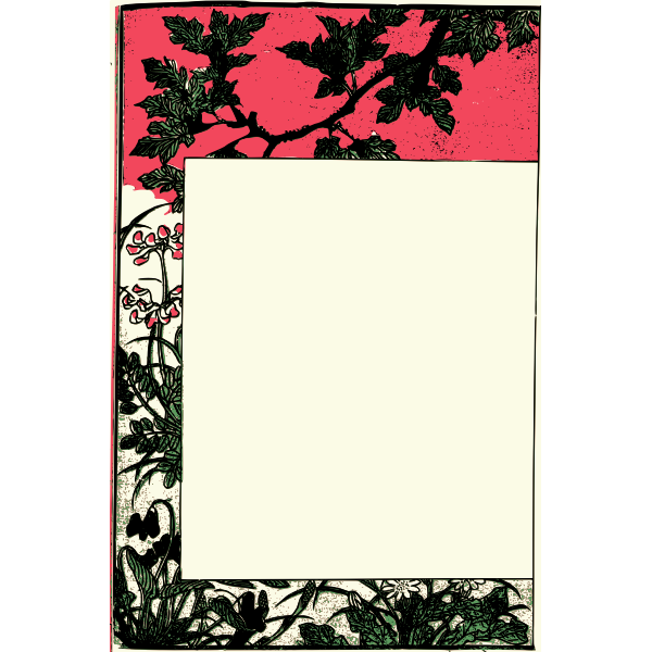Ancient Japanese book frame vector clip art
