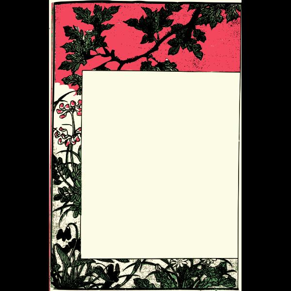 Ancient Japanese book frame vector clip art