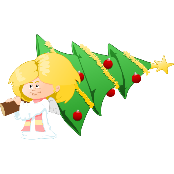Christmas tree carrying angel vector clip art