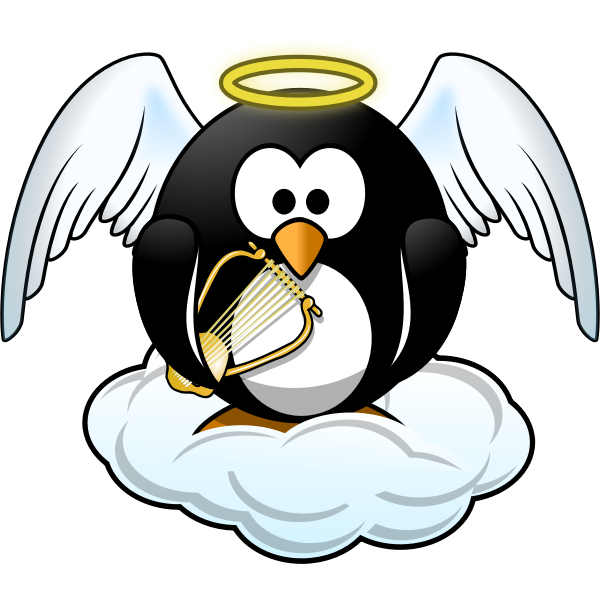 Penguin in Heaven vector illustration