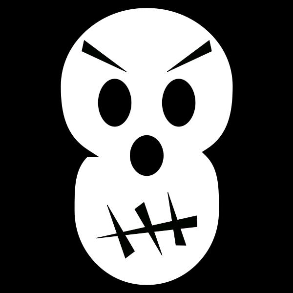 Angry Halloween skull vector clip art