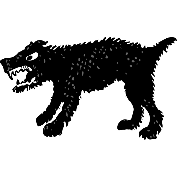Vector drawing of silhouette of a angry dog