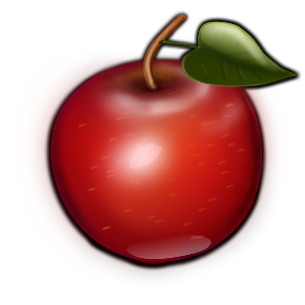 Vector image of brown tip and green leaf apple