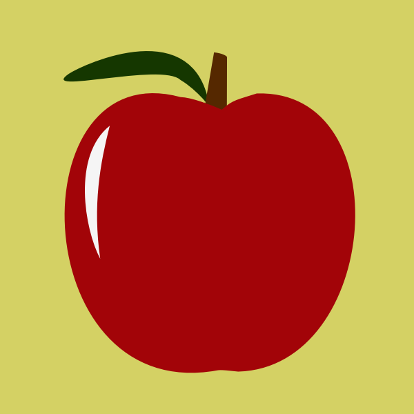 Vector image of shiny red symmetrical apple
