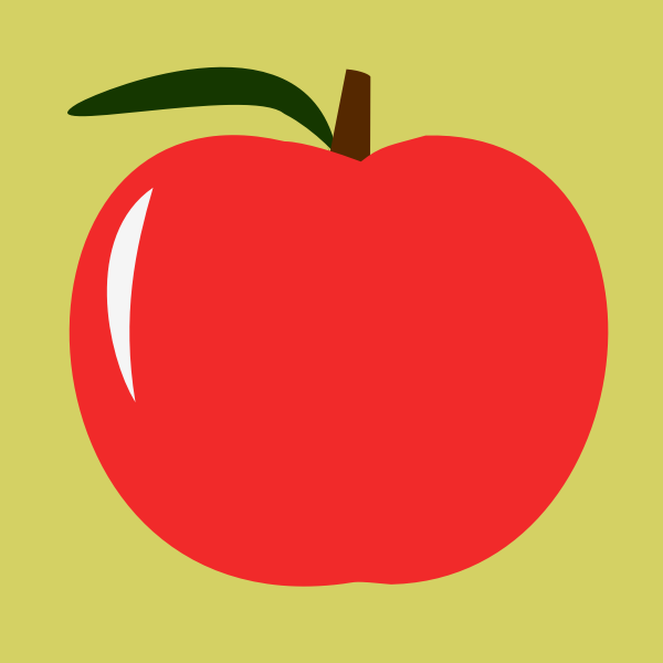 Red apple vector illustration with a leaf