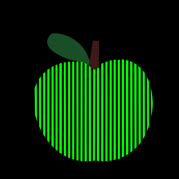 Vector graphics of striped computerized apple