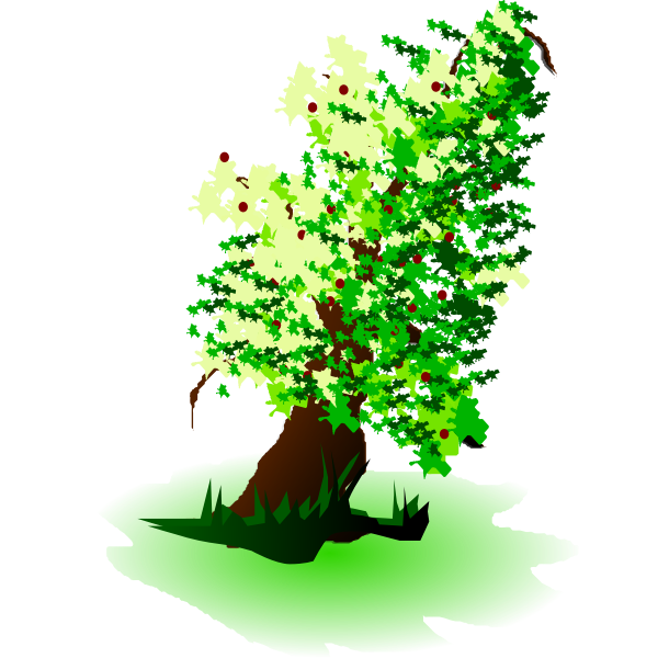 Apple tree oil painting vector graphics