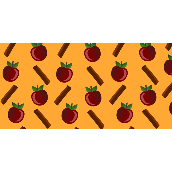 Vector image of apple and cinnamon pattern