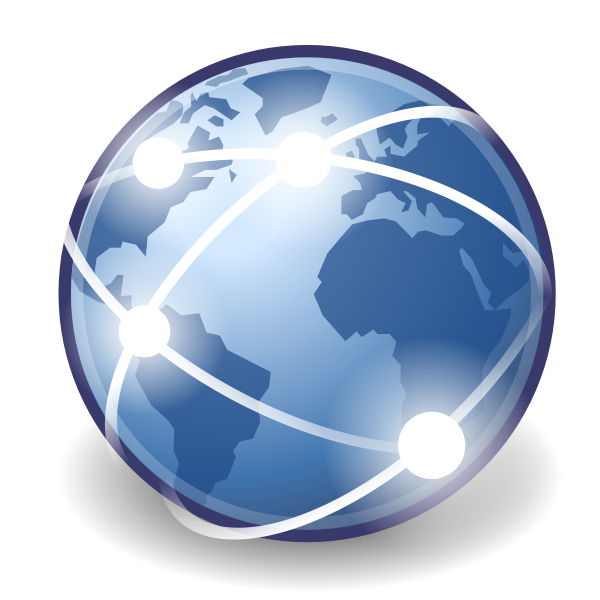 Connected globe vector icon