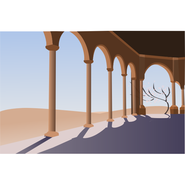 Vector drawing of archway in the desert